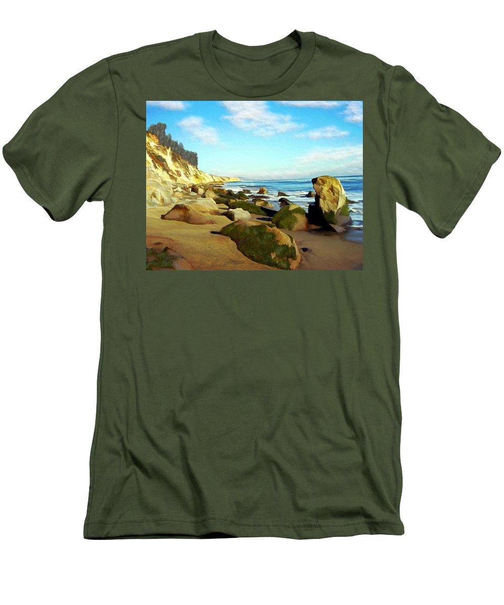 Ocean Men's T-Shirt (Athletic Fit) featuring the photograph After The Fog Gaviota by Kurt Van Wagner