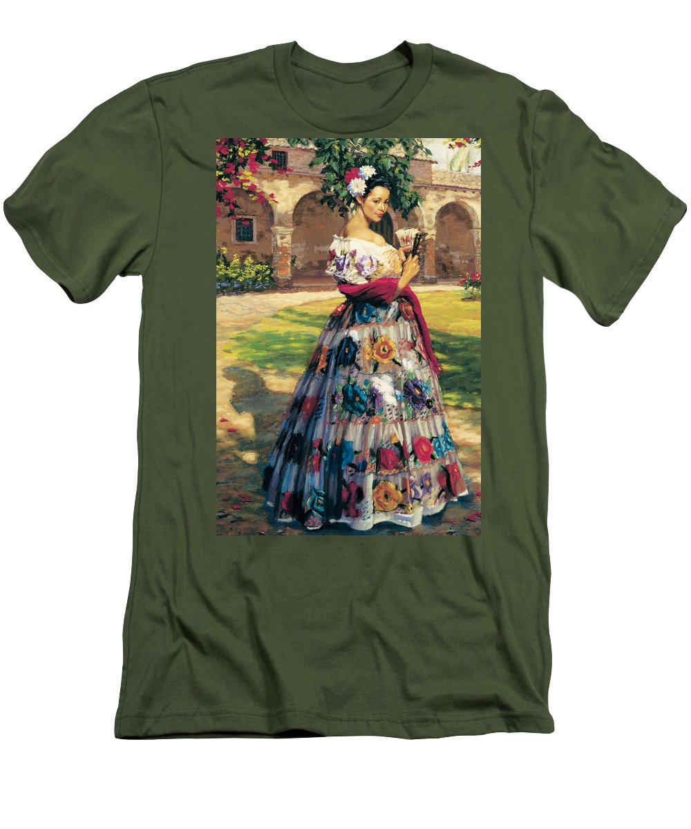 Woman Elaborately Embroidered Mexican Dress. Background Mission San Juan Capistrano. Men's T-Shirt (Athletic Fit) featuring the painting Al Aire Libre by Jean Hildebrant