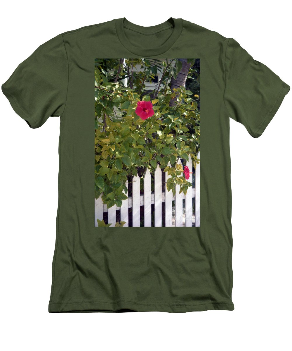 Azelea Men's T-Shirt (Athletic Fit) featuring the photograph Along The Picket Fence by Richard Rizzo