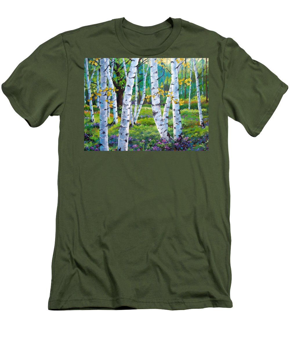 Birche; Birches; Tree; Trees; Nature; Landscape; Landscapes Scenic; Richard T. Pranke; Canadian Artist Painter Men's T-Shirt (Athletic Fit) featuring the painting Alpine Flowers And Birches by Richard T Pranke