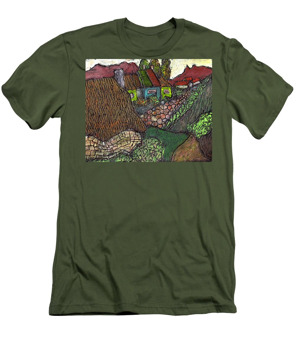 Ancient Village Men's T-Shirt (Athletic Fit) featuring the painting Ancient Village by Wayne Potrafka