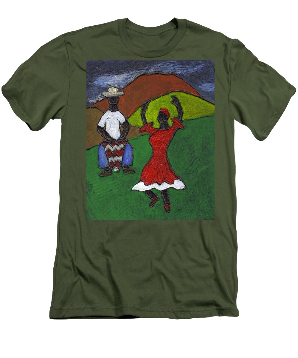Dance Men's T-Shirt (Athletic Fit) featuring the painting and Then She began to Dance by Wayne Potrafka