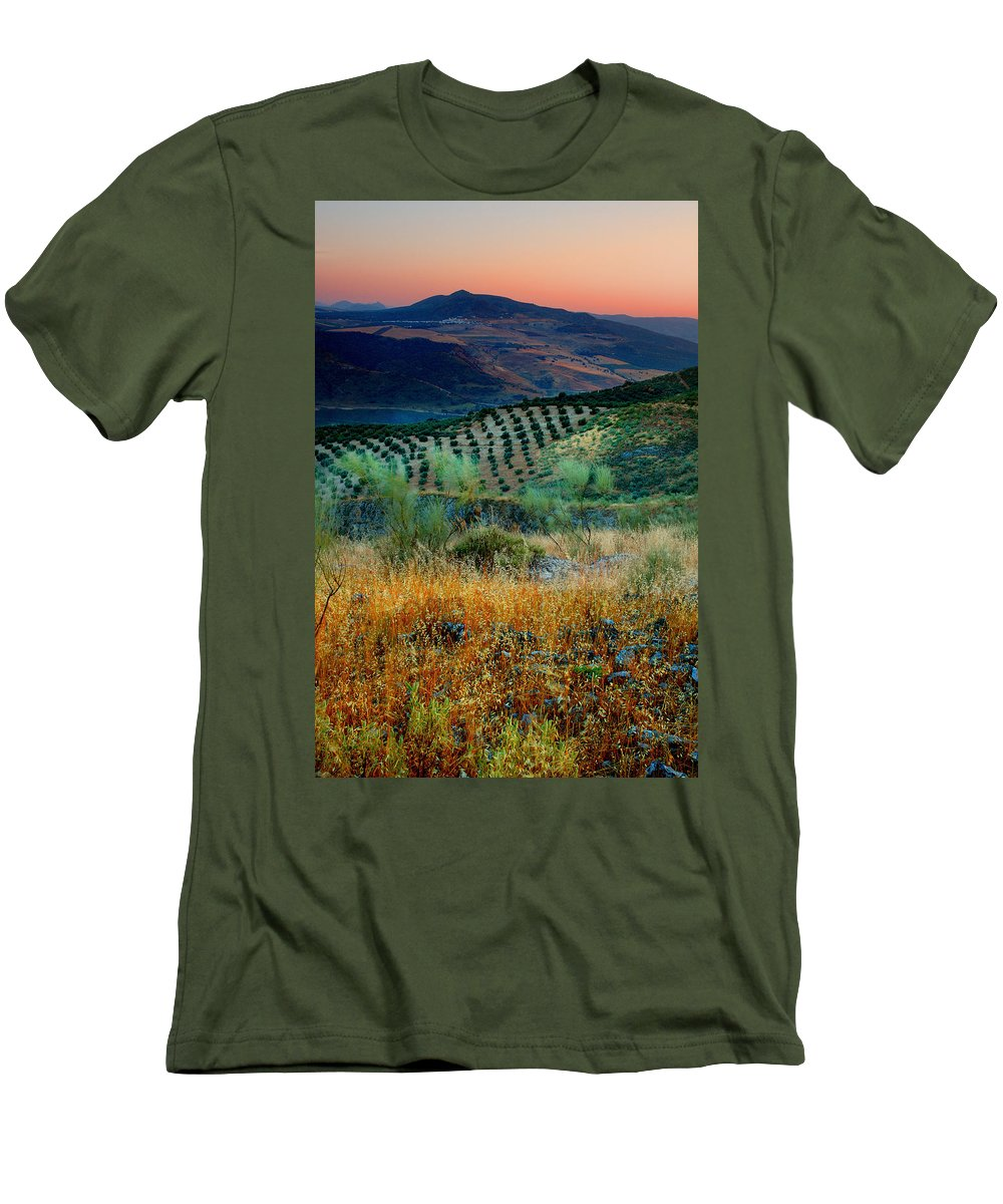 Andalucia Men's T-Shirt (Athletic Fit) featuring the photograph Andalucian Landscape by Mal Bray