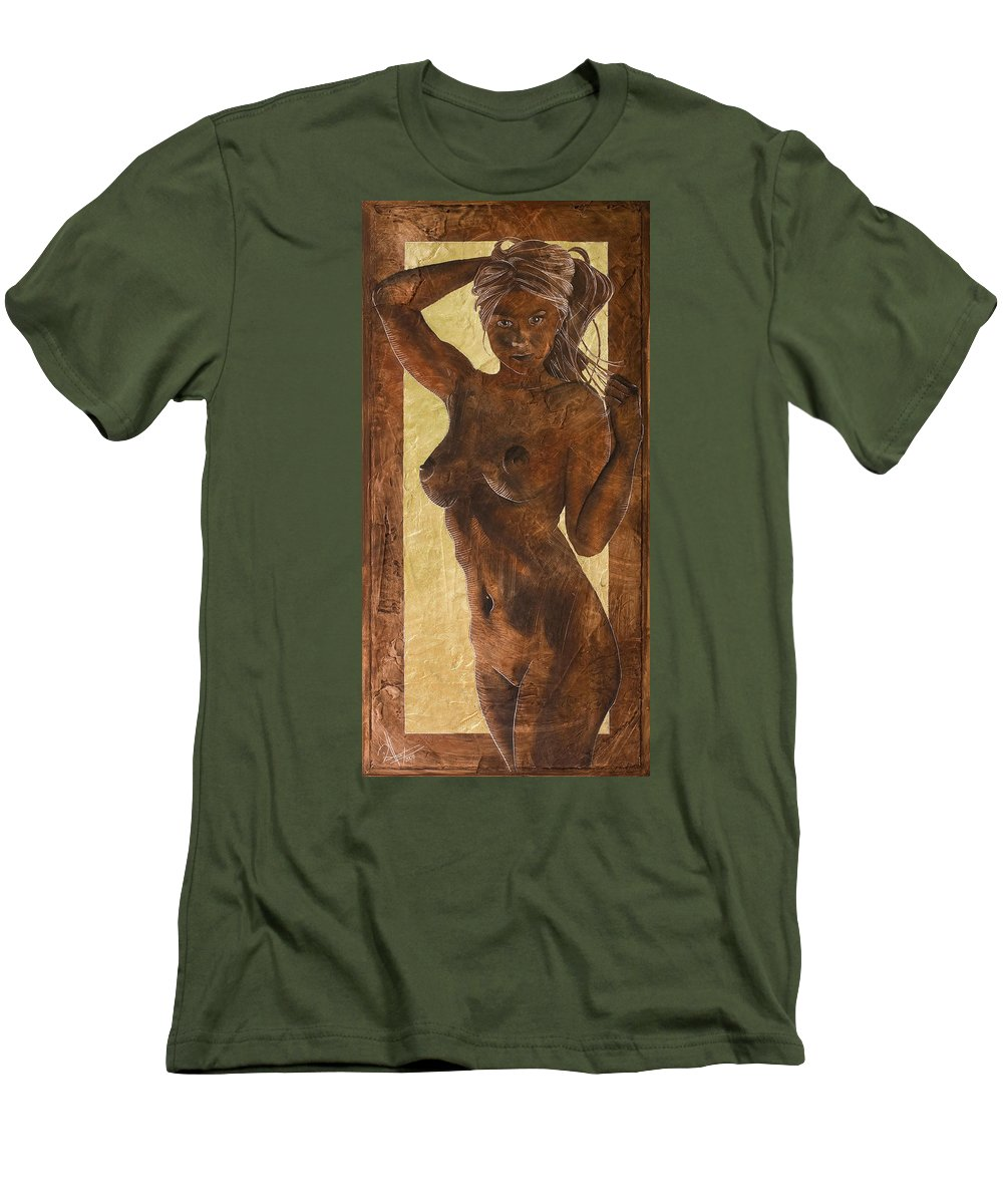 Nude Men's T-Shirt (Athletic Fit) featuring the painting Angel In Gold by Richard Hoedl