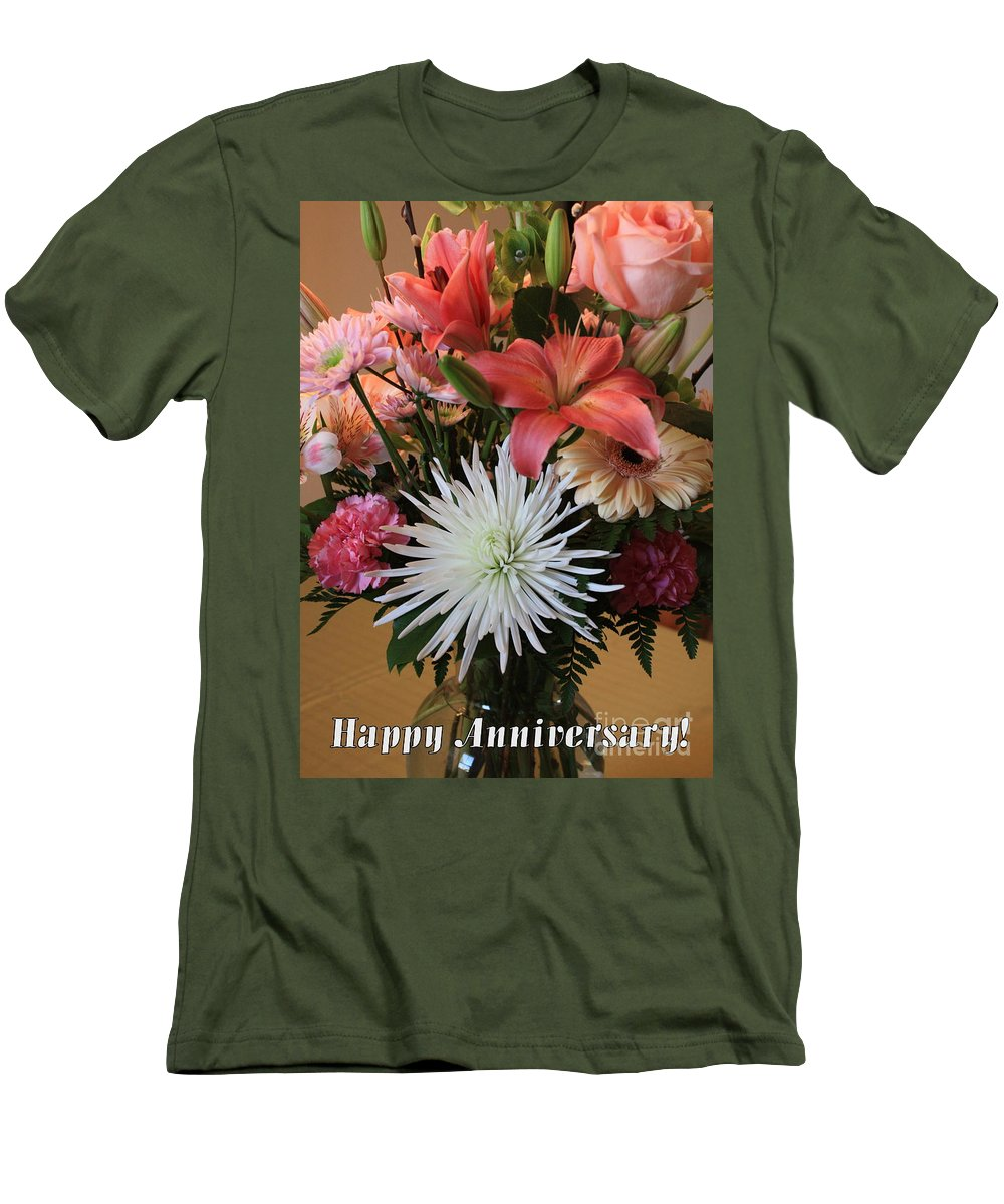 Bouquet Men's T-Shirt (Athletic Fit) featuring the photograph Anniversary Card by Carol Groenen