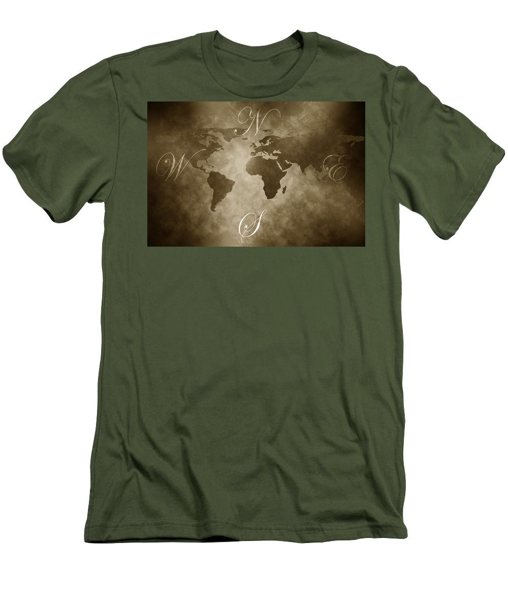 Compass Men's T-Shirt (Athletic Fit) featuring the digital art Antique World Map by Phill Petrovic