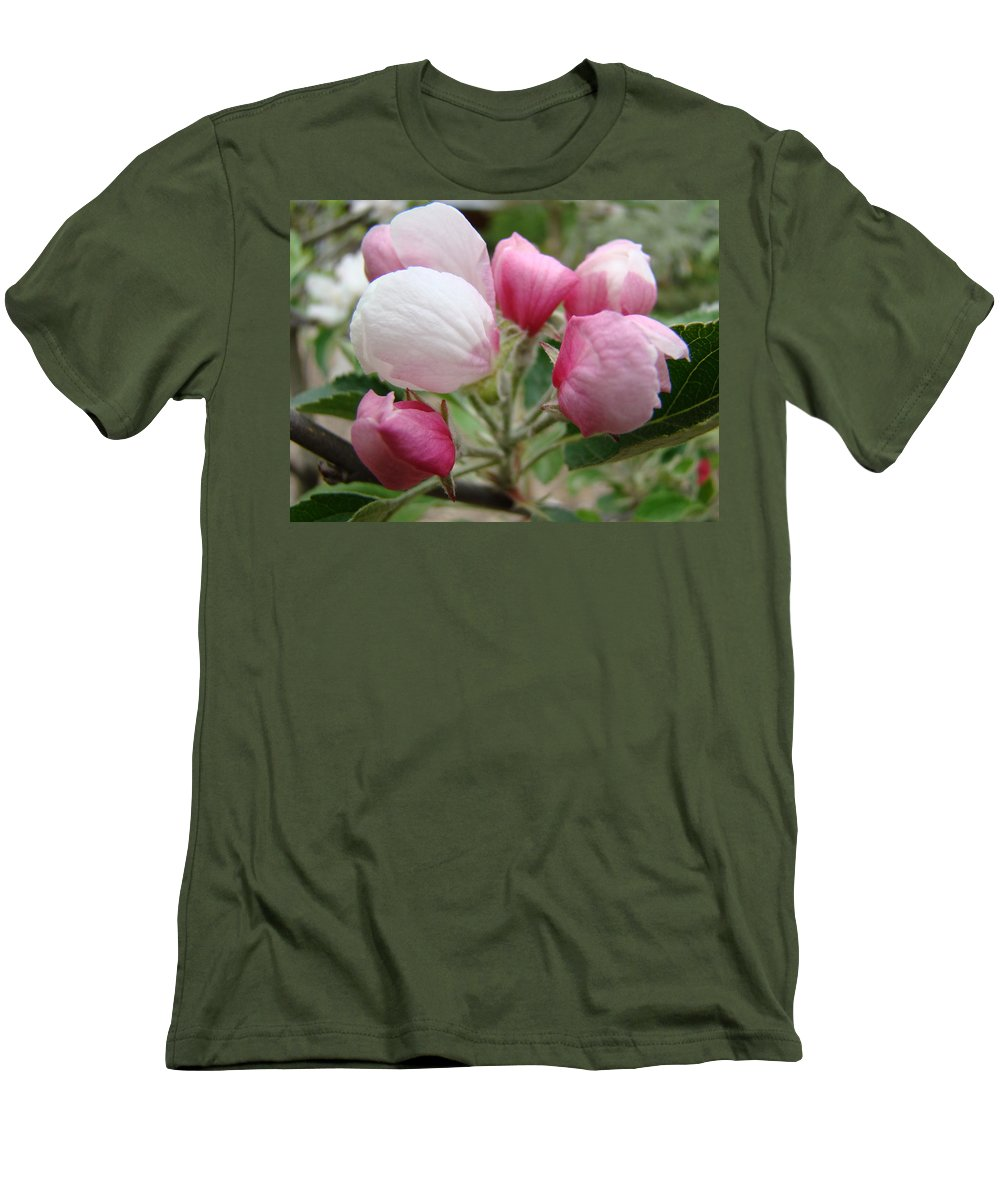 Apple Men's T-Shirt (Athletic Fit) featuring the photograph Apple Blossom Buds Art Prints Spring Blossoms Baslee Troutman by Baslee Troutman