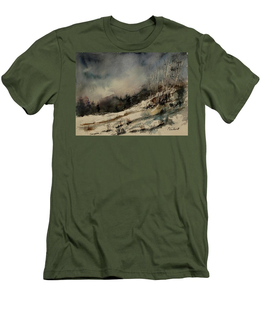 Winter Men's T-Shirt (Athletic Fit) featuring the painting Aqua 051207 by Pol Ledent