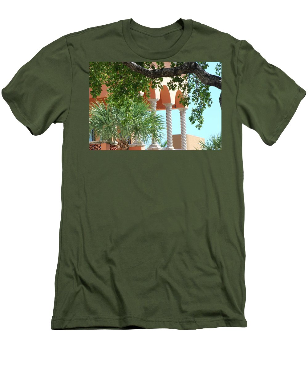 Architecture Men's T-Shirt (Athletic Fit) featuring the photograph Arches Thru The Trees by Rob Hans
