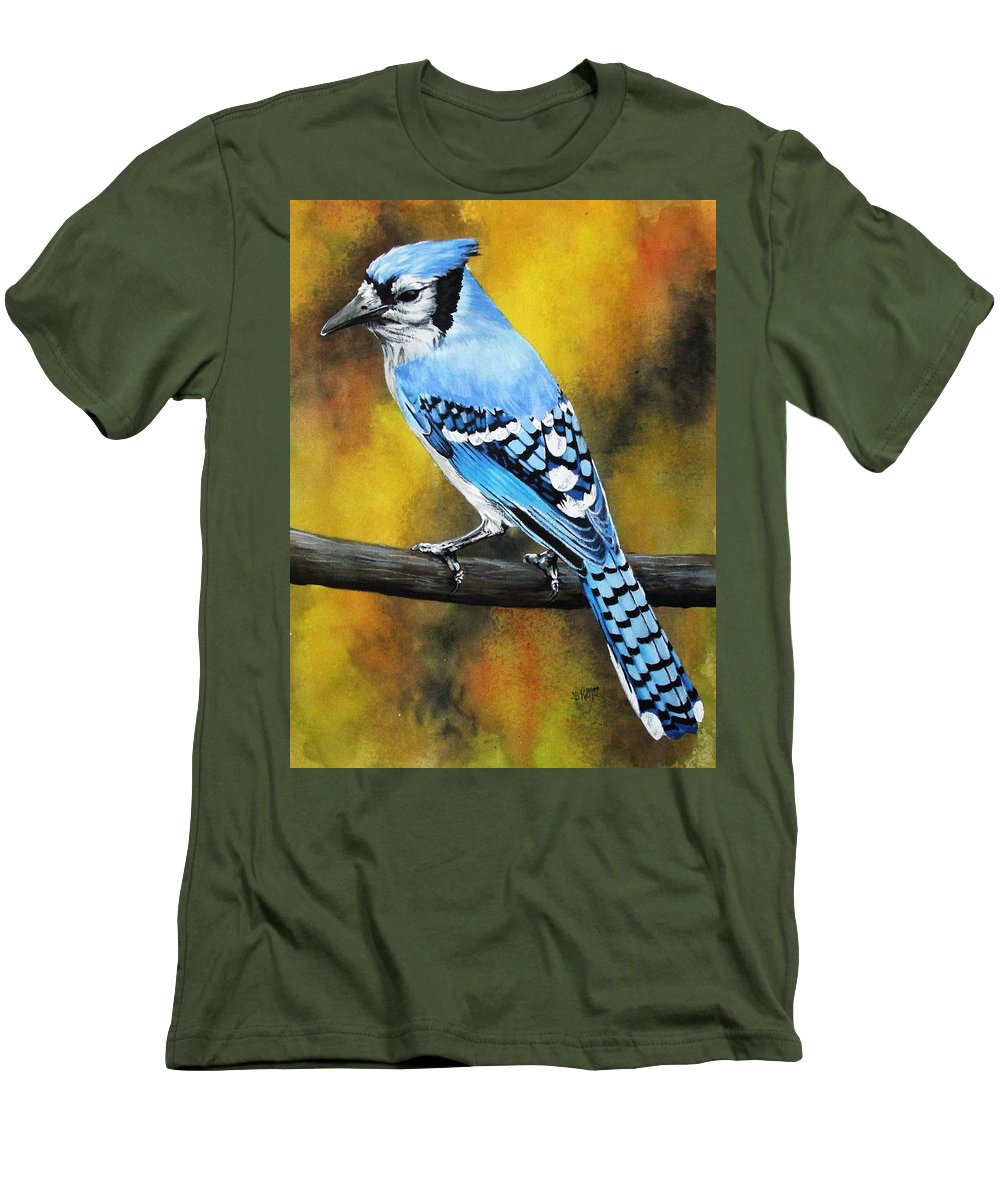 Common Bird Men's T-Shirt (Athletic Fit) featuring the painting Aristocrat by Barbara Keith
