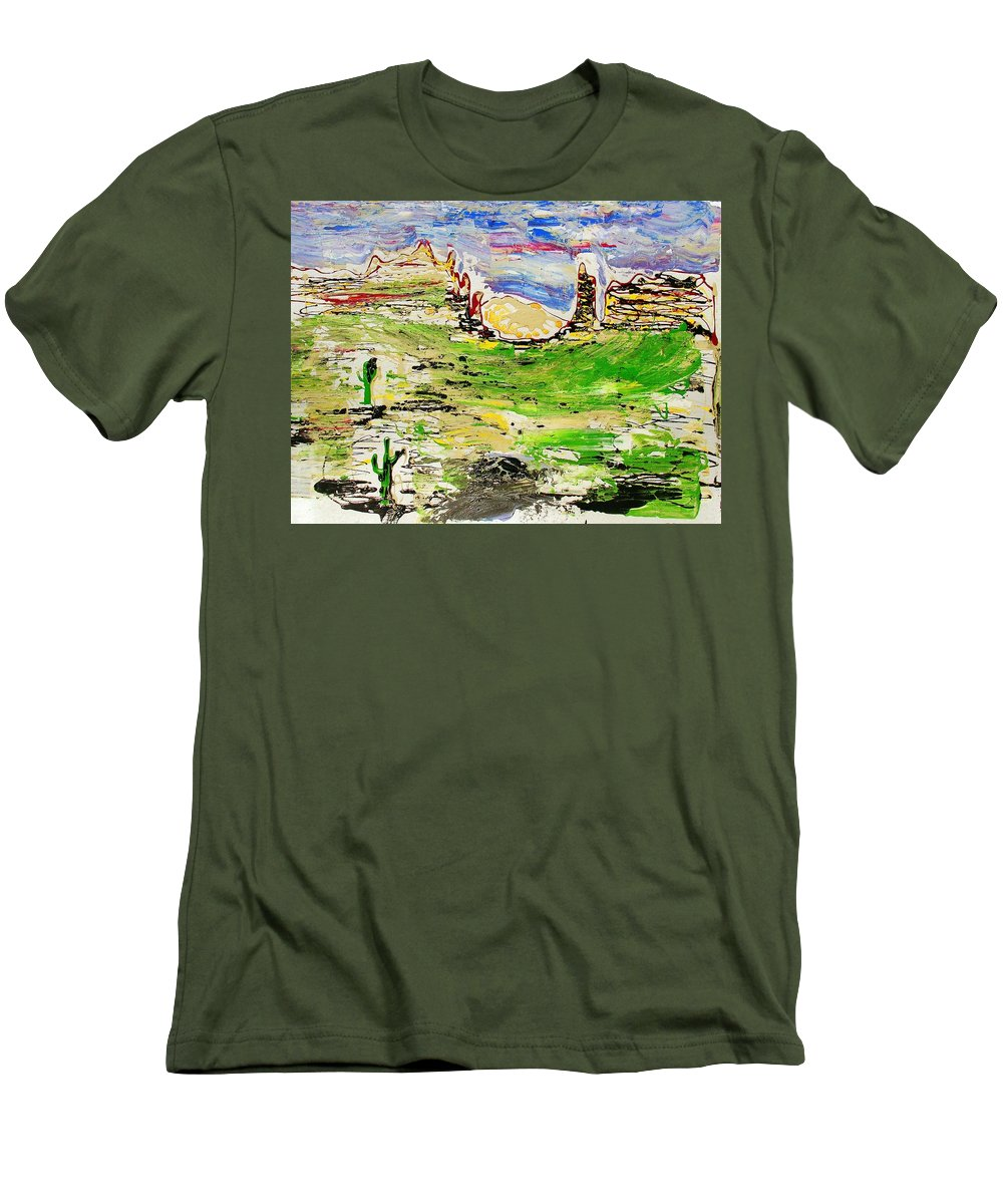 Cactus Men's T-Shirt (Athletic Fit) featuring the painting Arizona Skies by J R Seymour