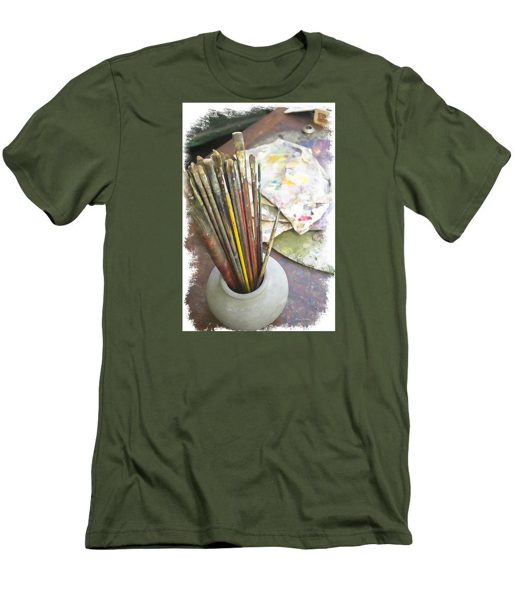 Artist Men's T-Shirt (Athletic Fit) featuring the photograph Artist Brushes by Margie Wildblood