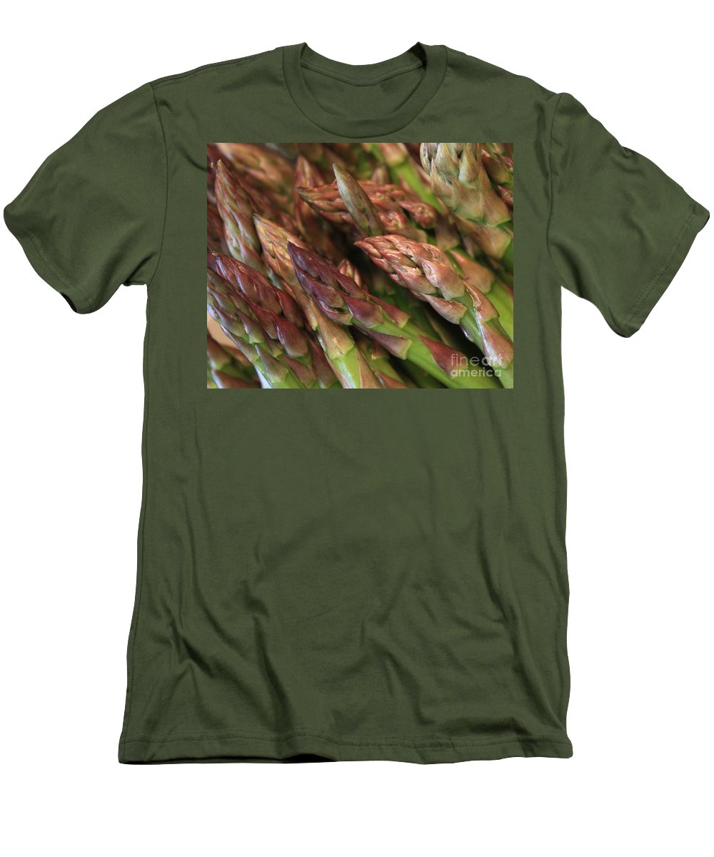 Asparagus Men's T-Shirt (Athletic Fit) featuring the photograph Asparagus Tips by Carol Groenen
