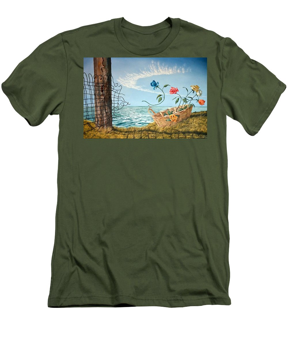 Flower Men's T-Shirt (Athletic Fit) featuring the painting At The End Of The Fence I Am Free by Christopher Shellhammer