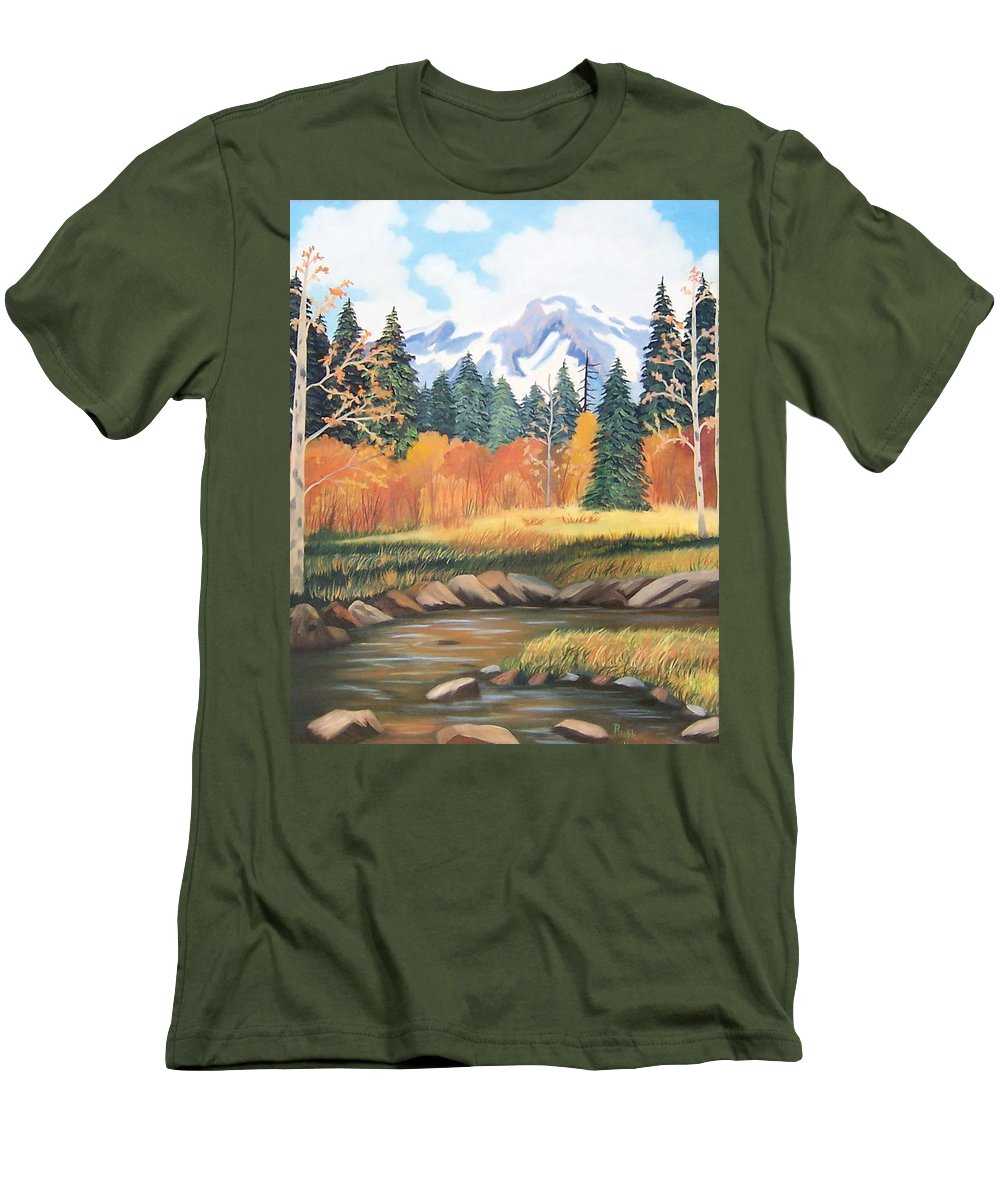 Landscape Men's T-Shirt (Athletic Fit) featuring the painting Autumn In The Mountans by Ruth Housley