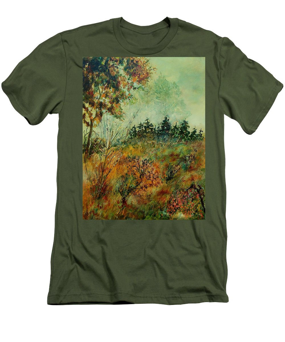 Tree Men's T-Shirt (Athletic Fit) featuring the painting Autumn Mist 68 by Pol Ledent