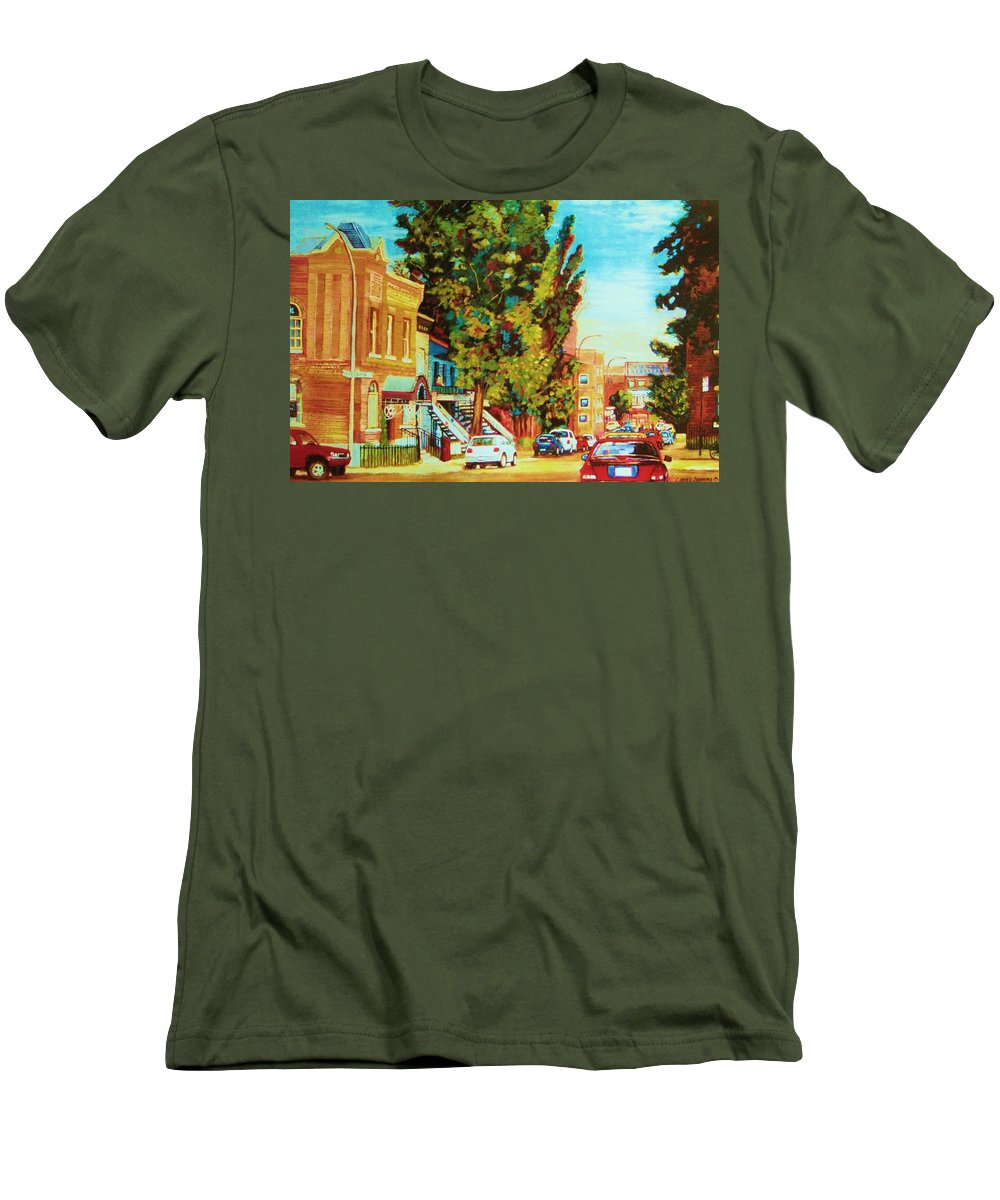 Bagg Street Synagogue Rue Bagg And Clark Men's T-Shirt (Athletic Fit) featuring the painting Autumn On Bagg Street by Carole Spandau