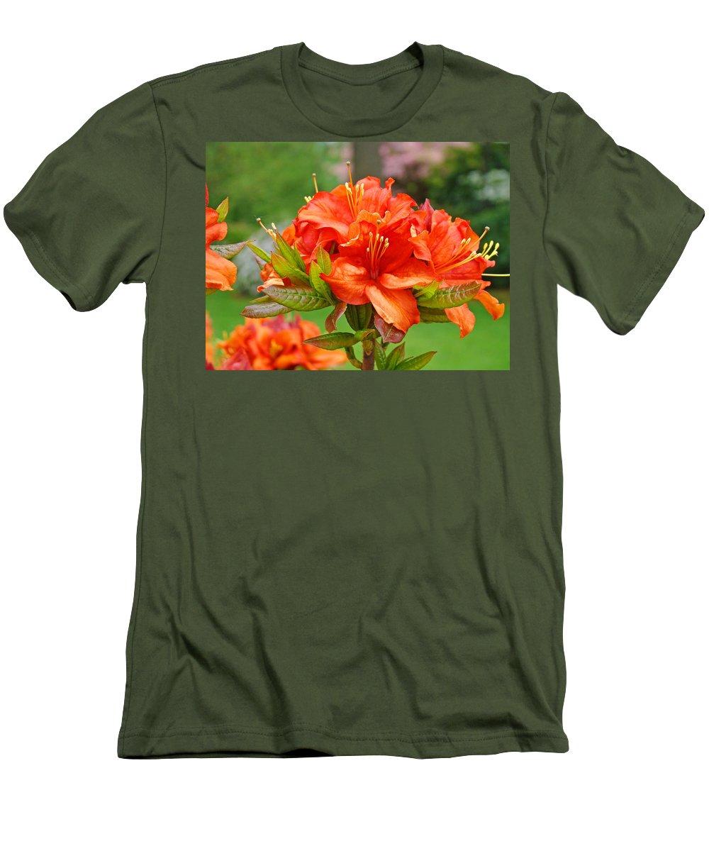 �azaleas Artwork� Men's T-Shirt (Athletic Fit) featuring the photograph Azaleas Art Home Decor 14 Orange Azalea Flowers Art Prints Greeting Cards by Baslee Troutman