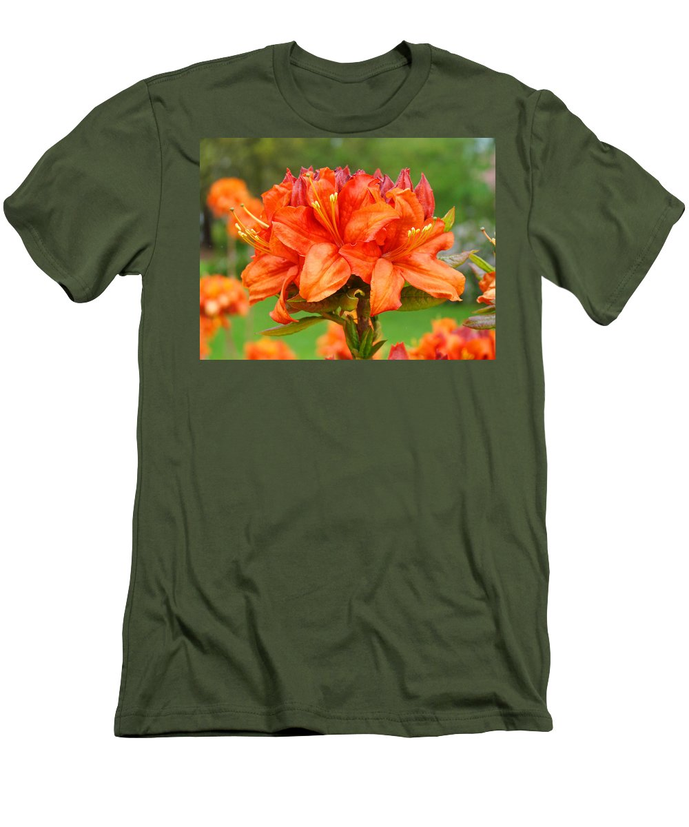 �azaleas Artwork� Men's T-Shirt (Athletic Fit) featuring the photograph Azaleas Orange Red Azalea Flowers 11 Botanical Giclee Art Baslee Troutman by Baslee Troutman