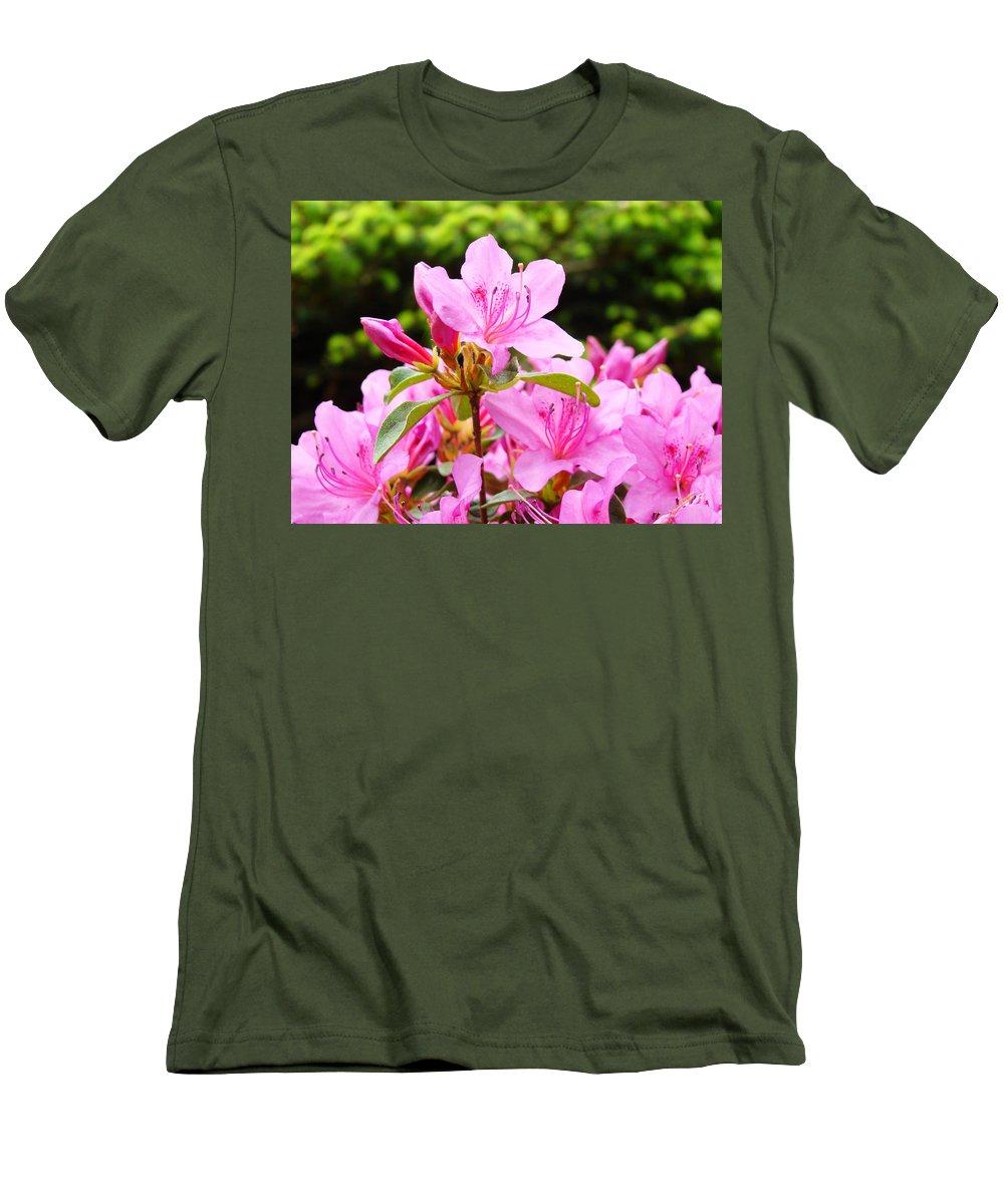 �azaleas Artwork� Men's T-Shirt (Athletic Fit) featuring the photograph Azaleas Pink Azalea Flowers Artwork 12 Landscape Art Prints by Baslee Troutman
