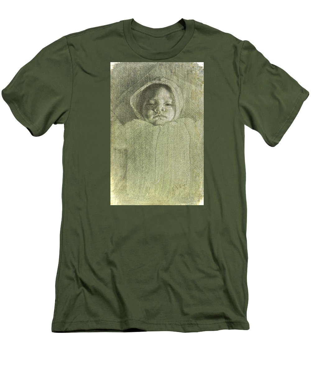 Men's T-Shirt (Athletic Fit) featuring the painting Baby Self Portrait by Joe Velez