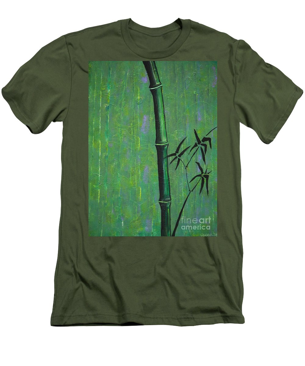 Bamboo Men's T-Shirt (Athletic Fit) featuring the painting Bamboo by Jacqueline Athmann