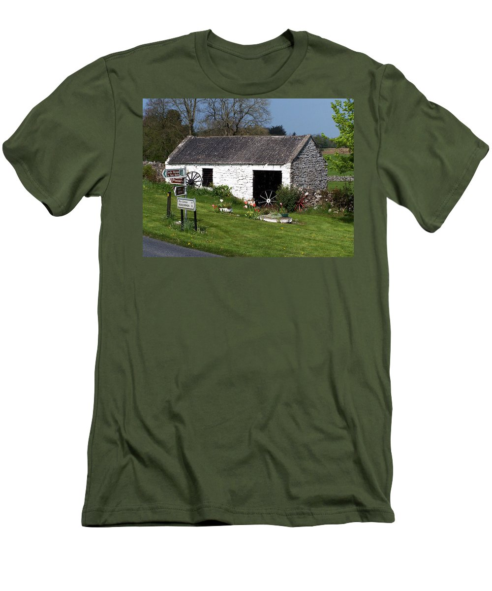 Ireland Men's T-Shirt (Athletic Fit) featuring the photograph Barn At Fuerty Church Roscommon Ireland by Teresa Mucha