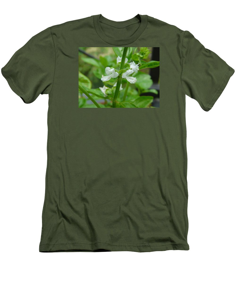 Plant Men's T-Shirt (Athletic Fit) featuring the photograph Basil Blossom by Valerie Ornstein