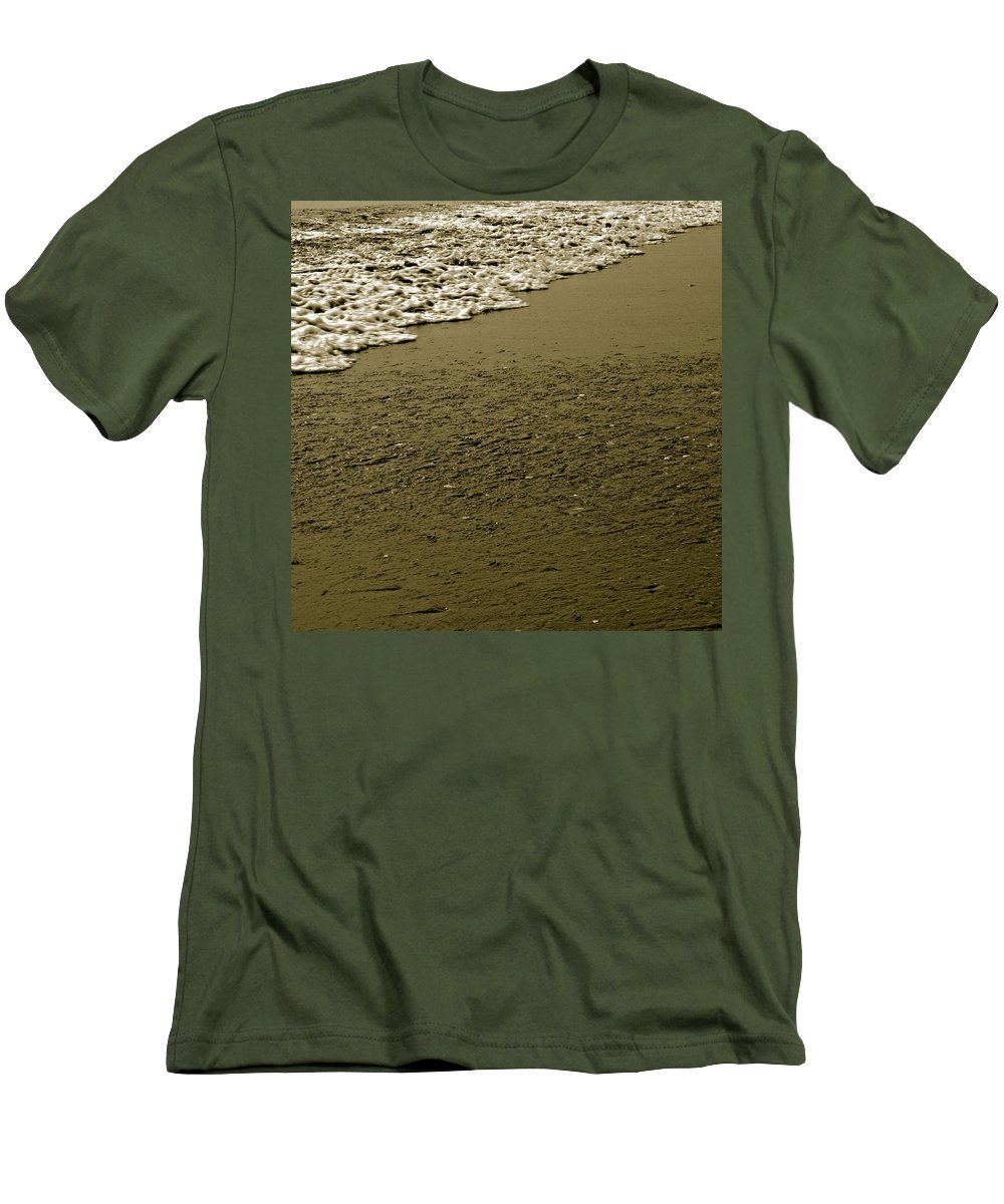 Water Men's T-Shirt (Athletic Fit) featuring the photograph Beach Texture by Jean Macaluso