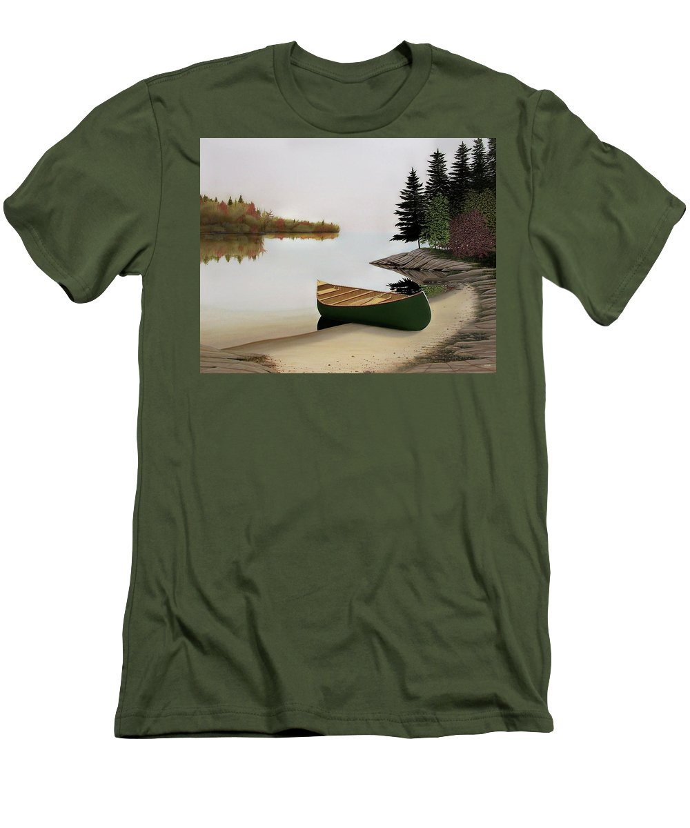 Canoe Paintings Men's T-Shirt (Athletic Fit) featuring the painting Beached Canoe In Muskoka by Kenneth M Kirsch