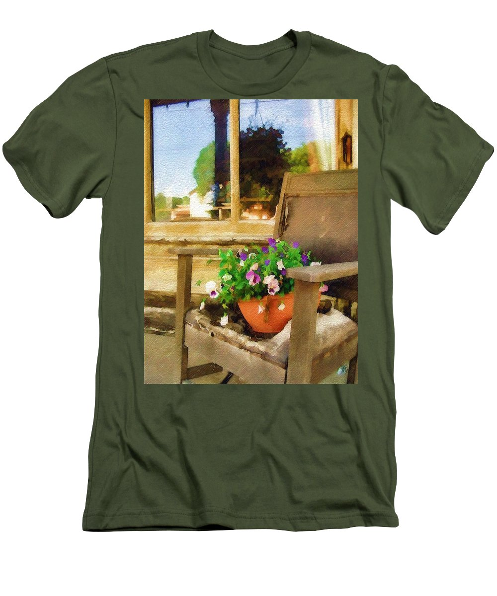 Pansies Men's T-Shirt (Athletic Fit) featuring the photograph Best Seat In The House by Sandy MacGowan
