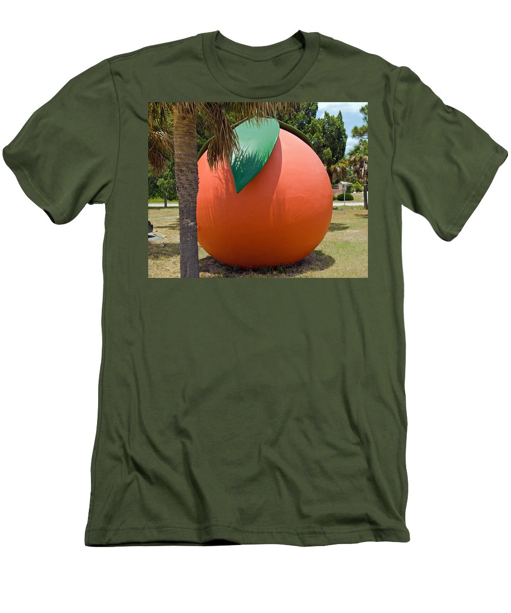 Florida; Travel; Kitsch; Giant; Big; Orange; Restroom; Rest; Room; Bathroom; Bath; Melbourne; Touris Men's T-Shirt (Athletic Fit) featuring the photograph Big Orange At Melbourne On The East Coast Of Florida by Allan Hughes