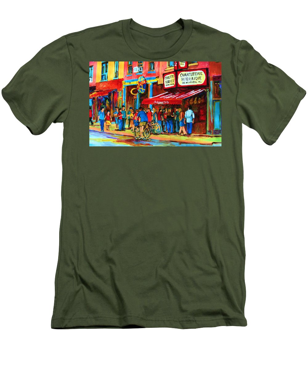 Schwartzs Smoked Meat Deli Men's T-Shirt (Athletic Fit) featuring the painting Biking Past The Deli by Carole Spandau