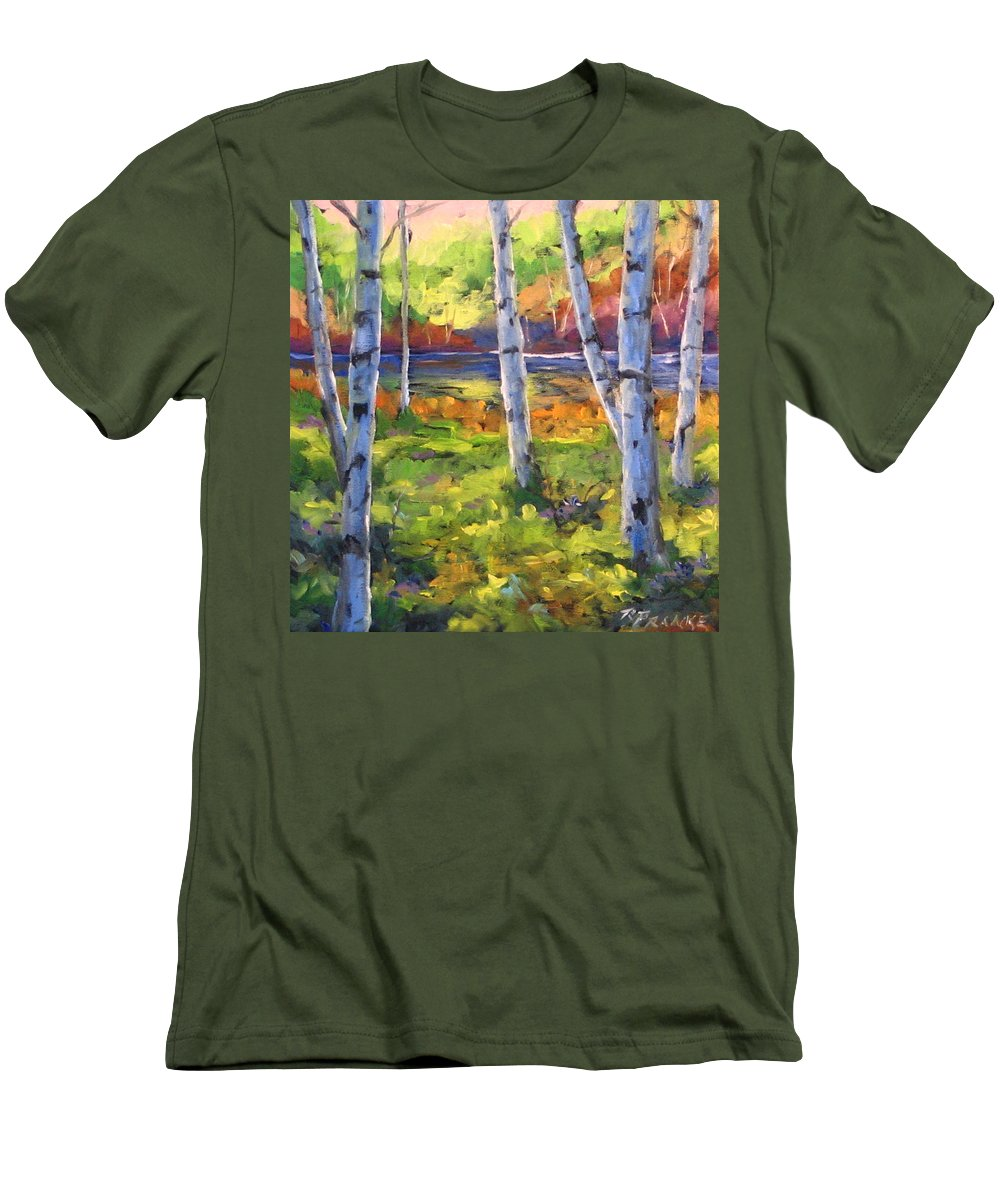Art Men's T-Shirt (Athletic Fit) featuring the painting Birches 01 by Richard T Pranke