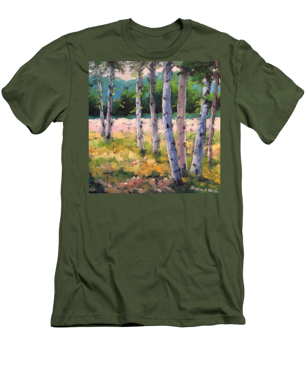 Art Men's T-Shirt (Athletic Fit) featuring the painting Birches 04 by Richard T Pranke