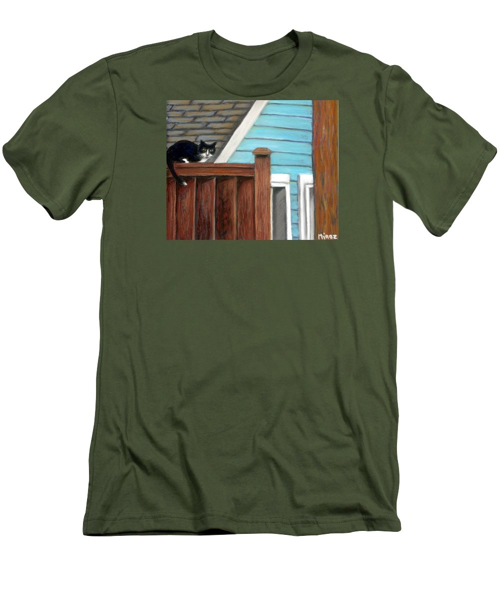 Cat Men's T-Shirt (Athletic Fit) featuring the painting Black Alley Cat by Minaz Jantz