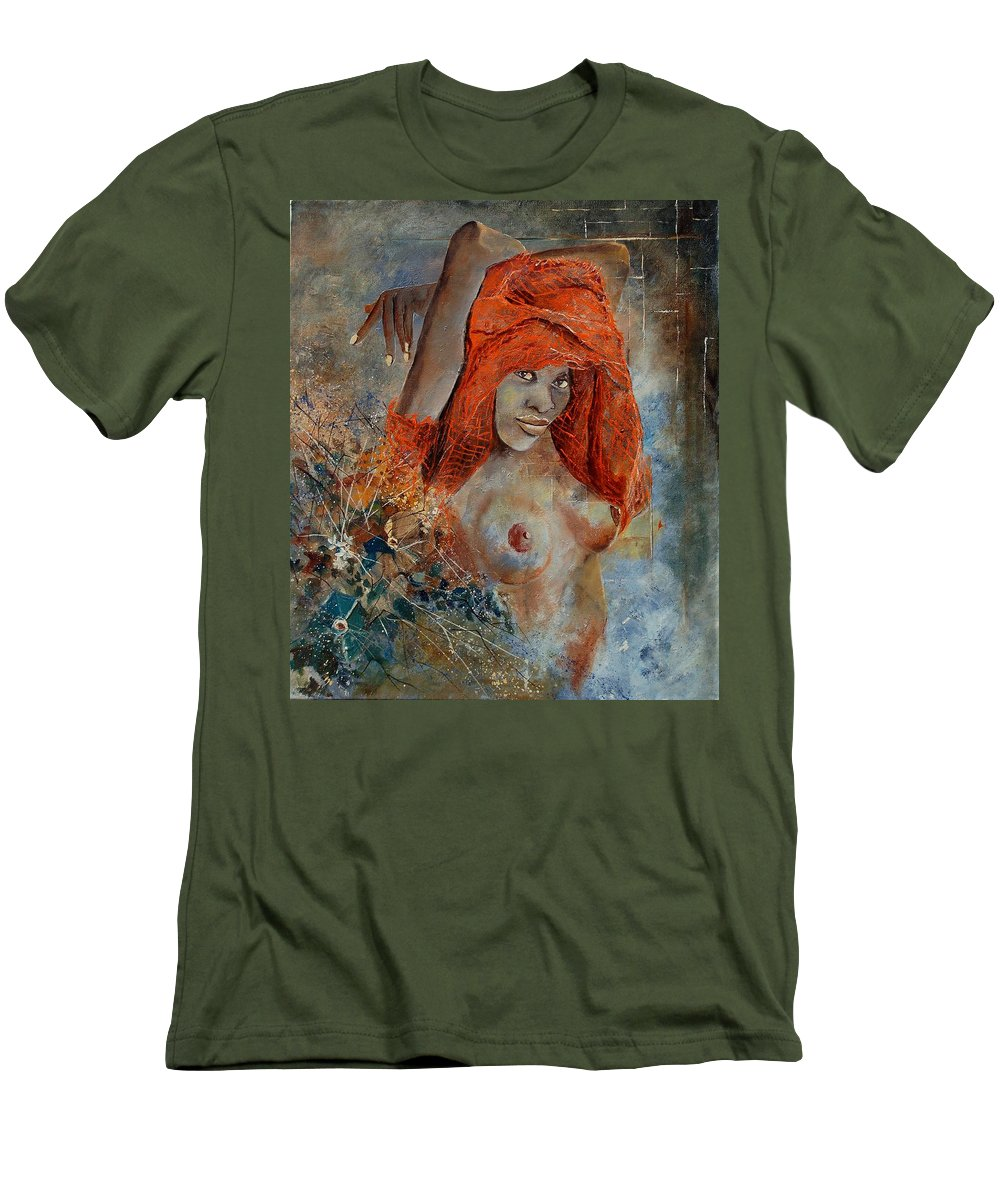 Nude Men's T-Shirt (Athletic Fit) featuring the painting Black Beauty by Pol Ledent
