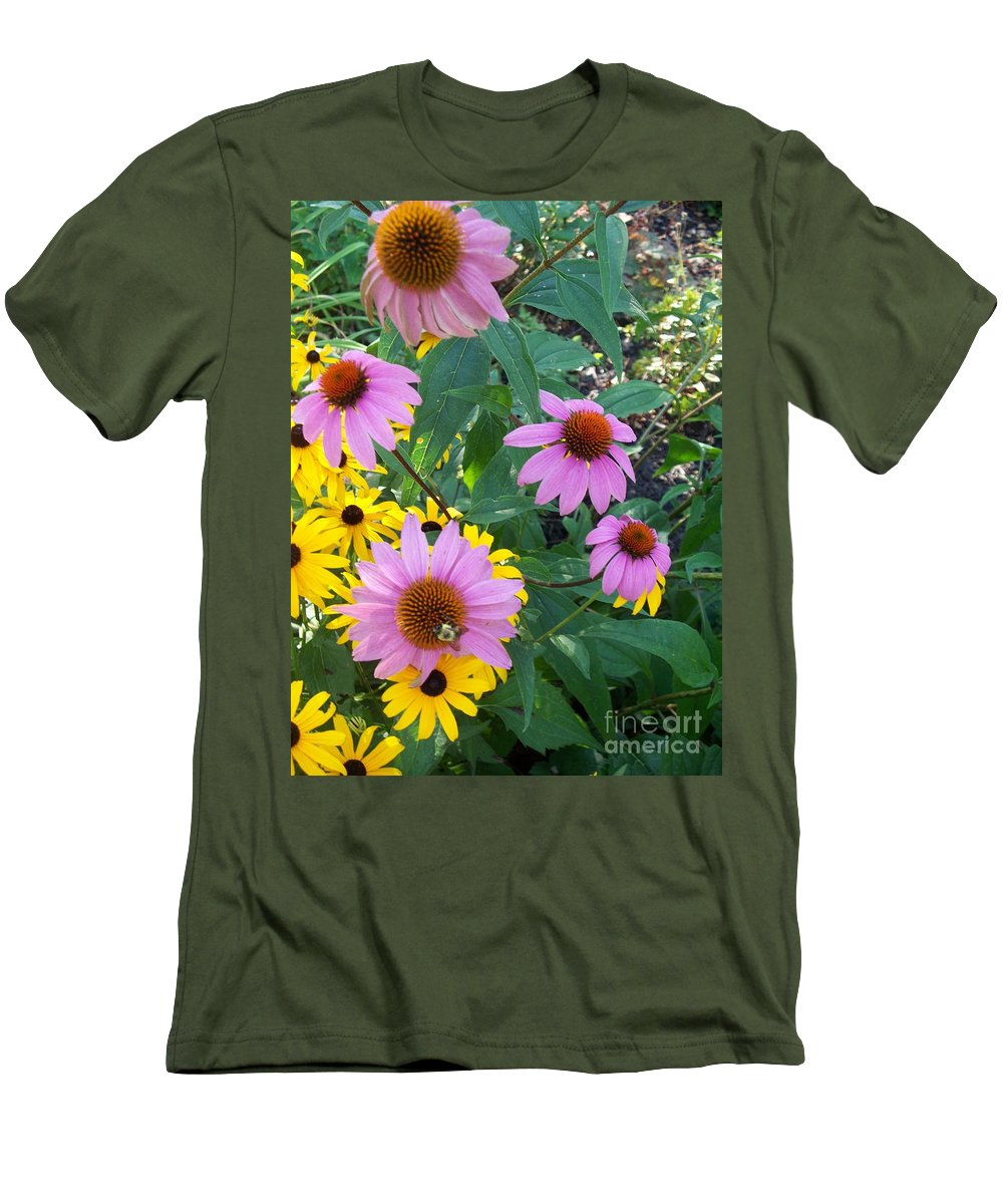 Black Eyesusans Men's T-Shirt (Athletic Fit) featuring the painting Black Eye Susans And Echinacea by Eric Schiabor