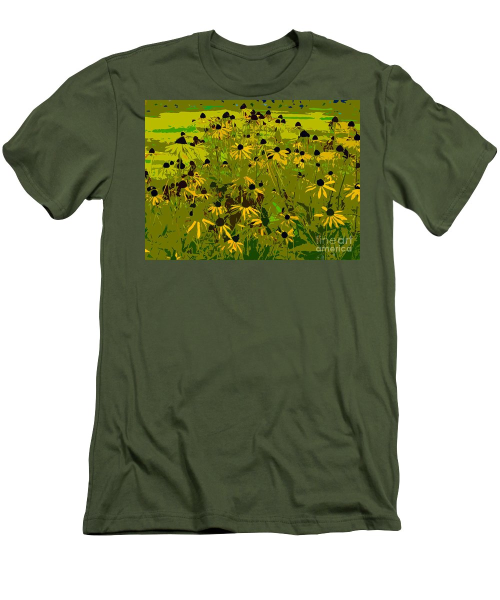Black Eyed Susan Men's T-Shirt (Athletic Fit) featuring the photograph Black Eyed Susan Work Number 21 by David Lee Thompson