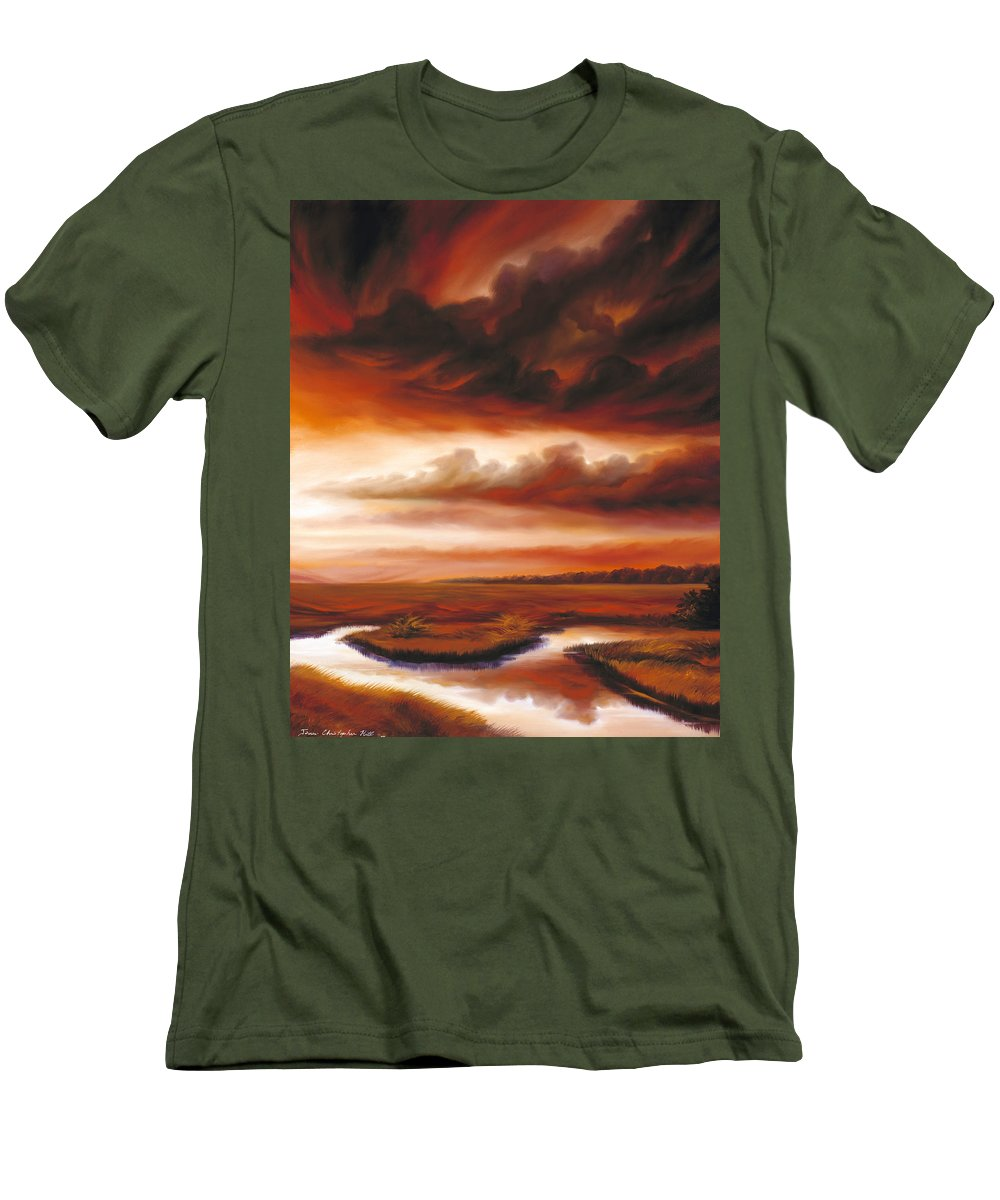 Contemporary Men's T-Shirt (Athletic Fit) featuring the painting Black Fire by James Christopher Hill