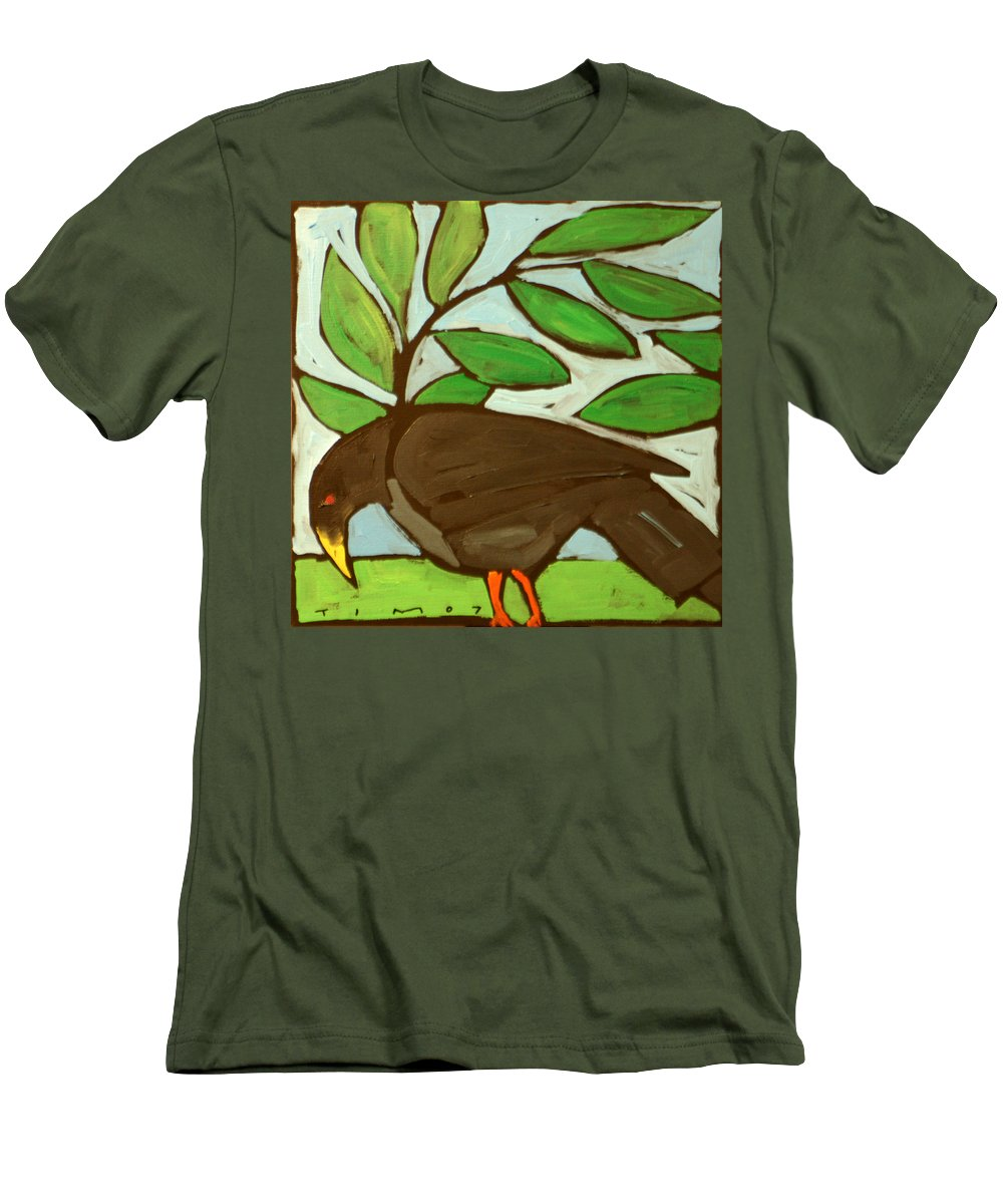 Bird Men's T-Shirt (Athletic Fit) featuring the painting Blackbird by Tim Nyberg