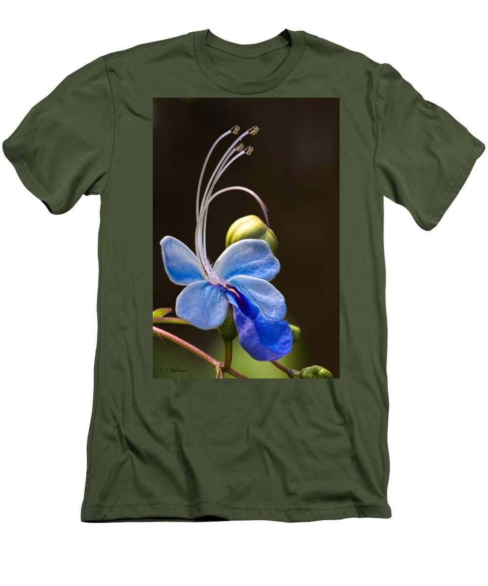 Flower Men's T-Shirt (Athletic Fit) featuring the photograph Blooming Butterfly by Christopher Holmes