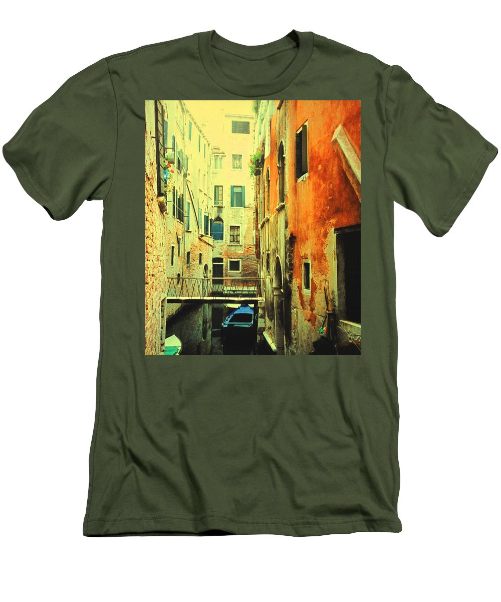 Venice Men's T-Shirt (Athletic Fit) featuring the photograph Blue Boat In Venice by Ian MacDonald