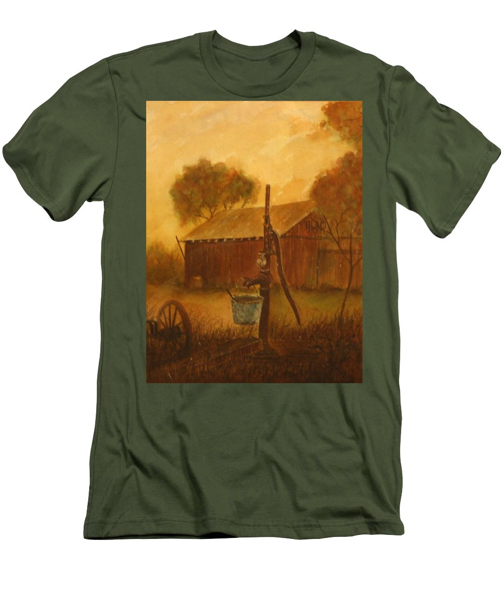 Barn; Bucket; Country Men's T-Shirt (Athletic Fit) featuring the painting Blue Bucket by Ben Kiger