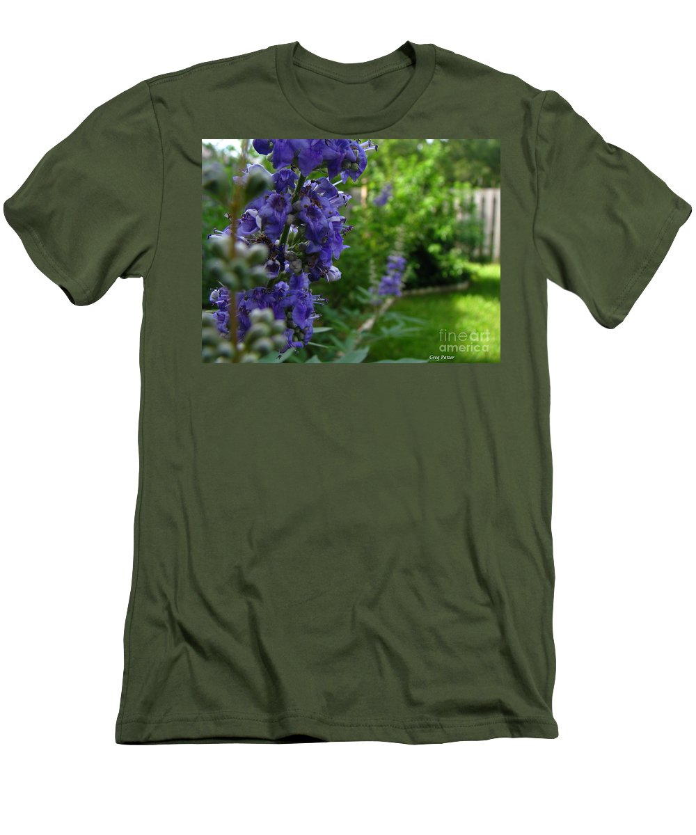 Art For The Wall...patzer Photography Men's T-Shirt (Athletic Fit) featuring the photograph Blue Butterfly by Greg Patzer