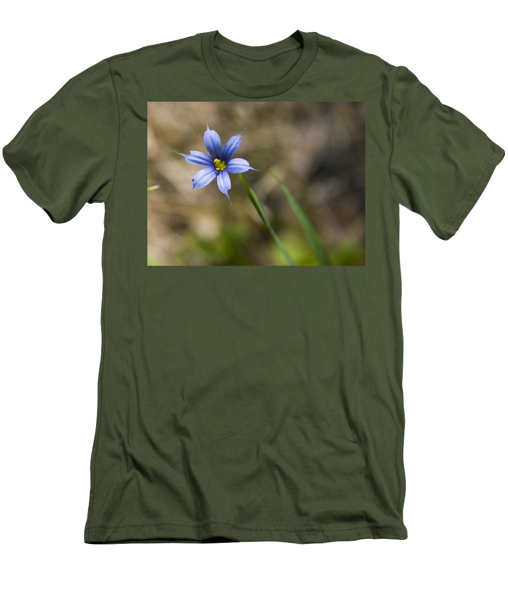 Flower Blue Grass Green Small Little Bright Color Colorful Yellow Flora Nature Men's T-Shirt (Athletic Fit) featuring the photograph Blue-eyed Grass II by Andrei Shliakhau