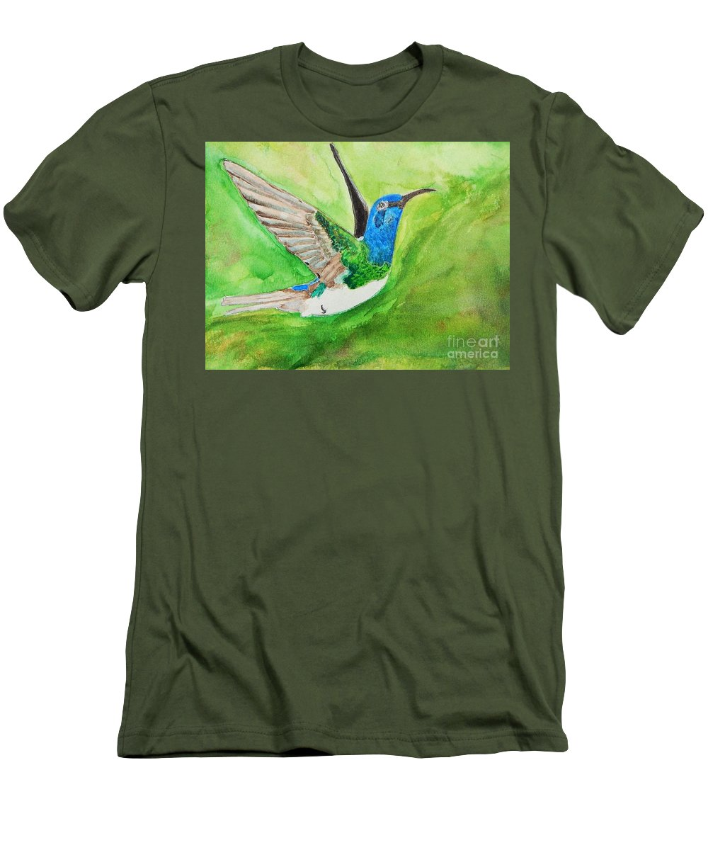 Humming Bird Men's T-Shirt (Athletic Fit) featuring the painting Blue Humming Bird by Barbara King