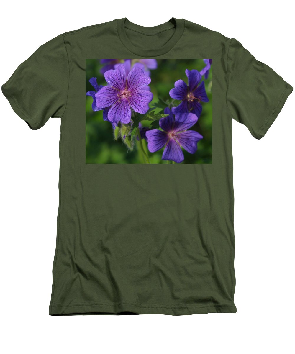 Blue Men's T-Shirt (Athletic Fit) featuring the photograph Blue Raindrops by Ian MacDonald