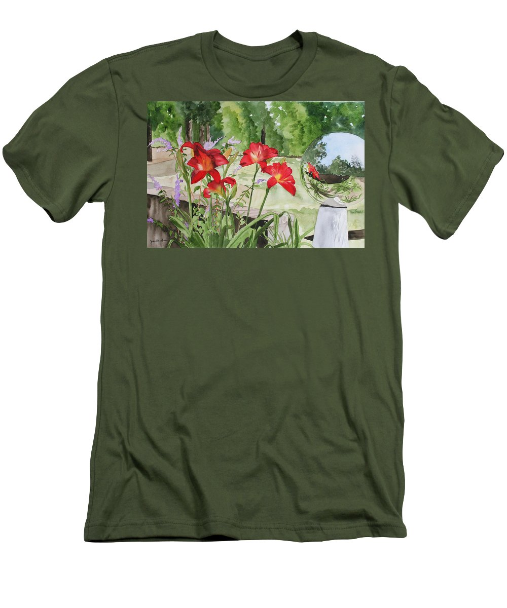 Flowers Men's T-Shirt (Athletic Fit) featuring the painting Blue Sky Reflections by Jean Blackmer