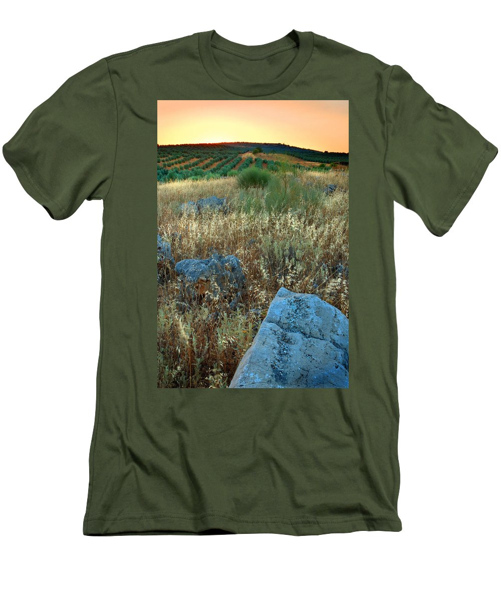 Iznajar Men's T-Shirt (Athletic Fit) featuring the photograph blue stones amongst the olive groves near Iznajar Andalucia Spain by Mal Bray